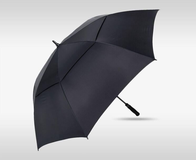 双层防风全纤维骨高尔夫雨伞