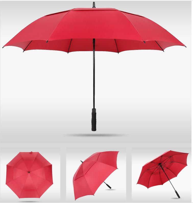 30寸双层全纤维蓝色红色灰色高尔夫伞