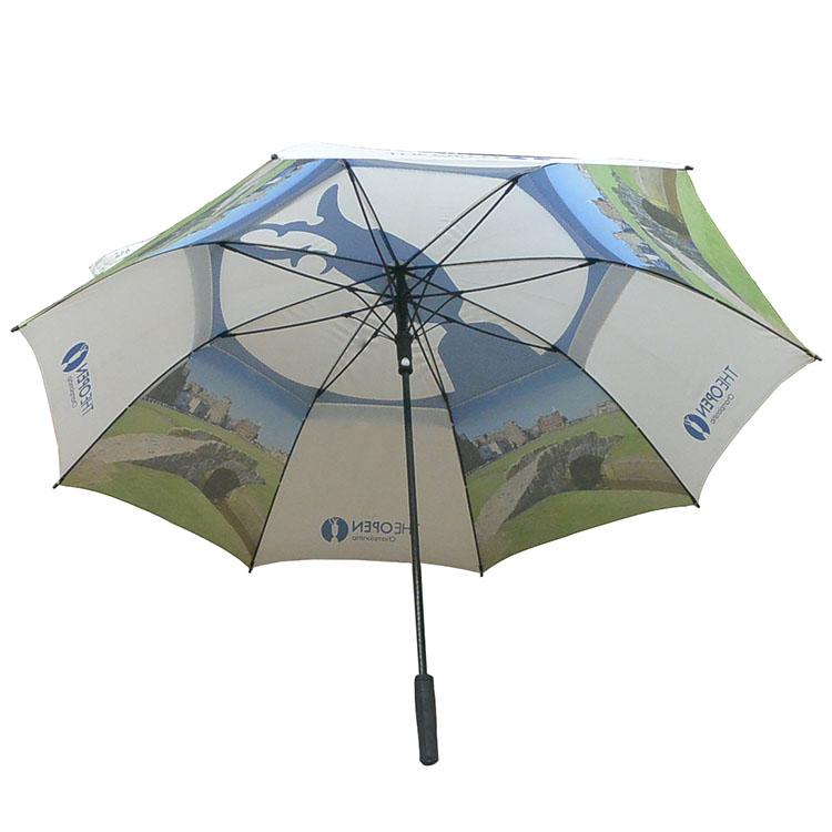 彩色图案印刷双层防风高韧性纤维骨高尔夫伞