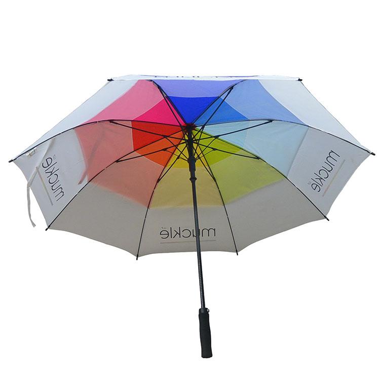超大双层全纤维多彩高尔夫伞