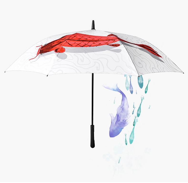 水墨画鲤鱼彩印高尔夫伞