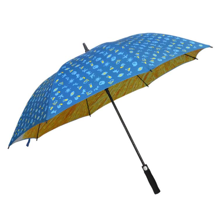 双层自动纤维伞骨高尔夫伞